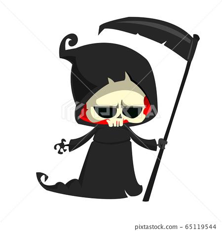 Cartoon Halloween grim reaper illustration 65119544