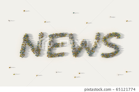 Large group of people forming News lettering text 65121774