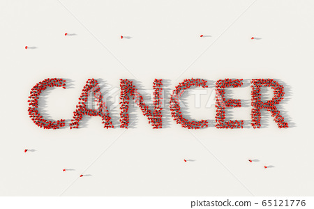 Large group of people forming Cancer lettering 65121776