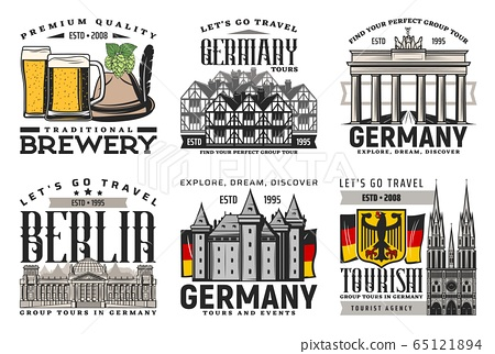 Berlin city tours, beer and landmark icons 65121894