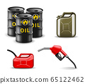 Oil and gas related items design set. Fuel industry vector illustration collection in realistic style. Power and energy 65122462