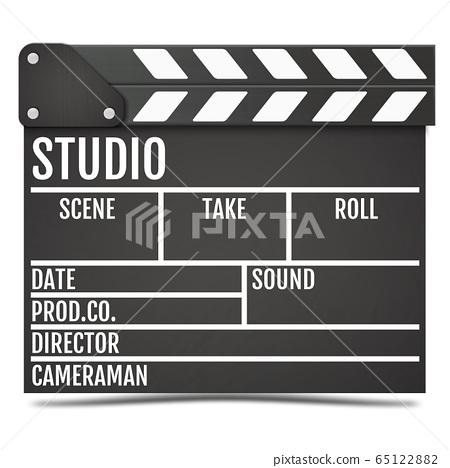 Realistic Movie clapper board. Vector. 65122882