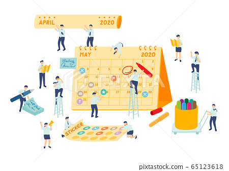 Work schedule employee teamwork management, Miniature assembly team staff make planning calendar, Business metaphor concept, Poster or social banner design, Vector illustration isolated background 65123618