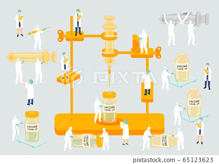 Medical personnel teamwork management manufacturing Miniature assembly lab team staff people generate COVID-19 vaccine, Science laboratory metaphor Poster or social banner Vector illustration isolated 65123623