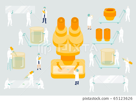 Medical personnel teamwork management, Miniature assembly lab team staff tiny people research COVID-19 virus Science laboratory metaphor Poster or social banner Vector illustration isolated background 65123626