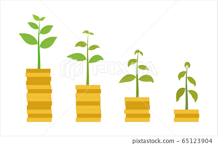 Vector illustration of money go down with plant  65123904