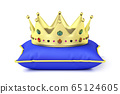 Gold crown on pillow 65124605