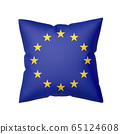 European flag on pillow isolated on white 65124608