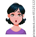 Face expression of woman with stylish haircut 65125122