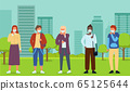Set of multinational characters in face medical masks at city park background, viral pandemia 65125644