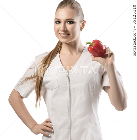 Nutritionist in white uniform isolated shot 65126110