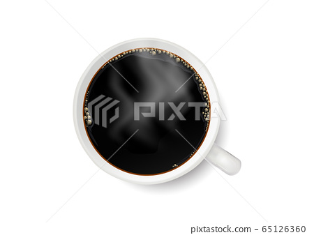 Realistic white coffee cup with smoke on white background vector illustration 65126360