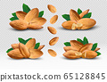 Peeled almond. 3D realistic nuts with leaves on transparent background. Fresh Almond close up. Icon set. Organic nuts. Concept food. Vector illustration 65128845