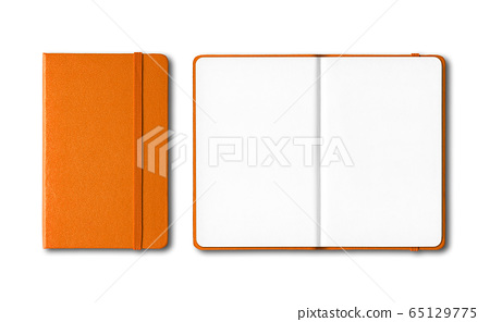 Orange closed and open notebooks isolated on white 65129775