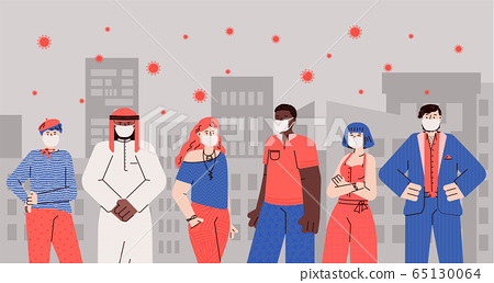 People in masks on background of city infected with viruses vector illustration. 65130064
