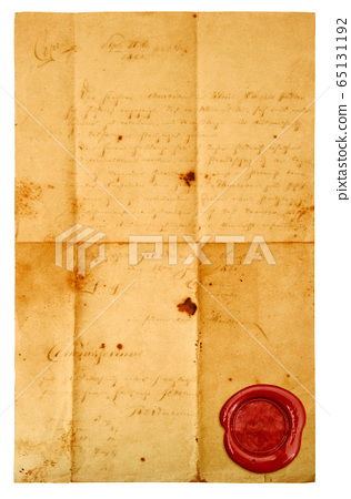 Used letter paper sheet red wax seal isolated 65131192