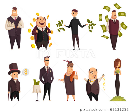 Set of vector cartoon rich people. Happy super rich successful businessmans and businesswoman. Very rich peoples bathing In his money 65131252