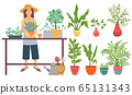 Farming Woman with Plants, Gardening Planting 65131343