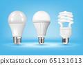 3D glowing CFL and LED light bulbs on blue background, realistic style. Idea, creativity and innovation concept. Responsible energy use and ecology. lamps vector illustration 65131613