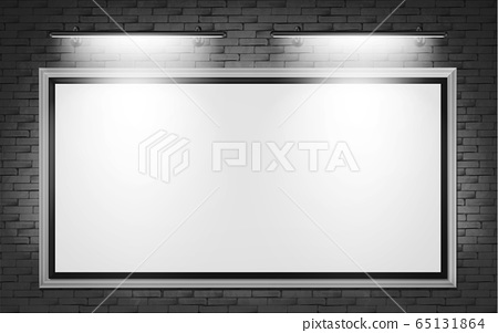 Blank billboard display on brick wall background 65131864
