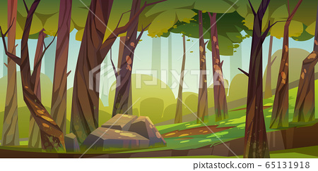 Cartoon forest background, nature park landscape 65131918