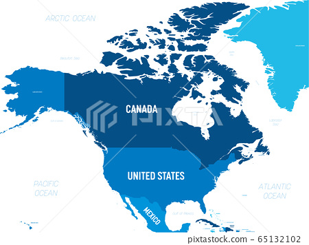 North America map - green hue colored on dark background. High detailed political map North American continent with country, capital, ocean and sea names labeling 65132102