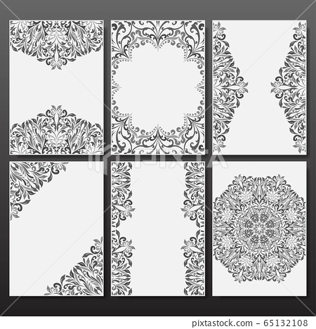 Retro boho grey floral patterns wallpaper 65132108