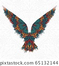 African pattern raven abstract silhouette 65132144