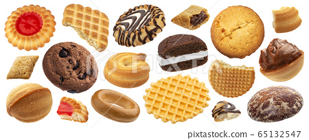 Cookies and biscuits collection isolated on white background 65132547
