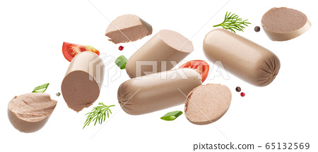 Chicken pate isolated on white background, foie gras 65132569