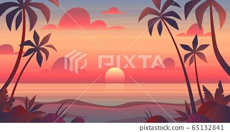 Sea sunset. Evening or morning view of sun above ocean. Panorama with clouds, water surface and palm trees, exotic cartoon vector landscape 65132841