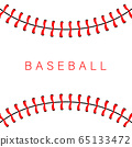Baseball ball stitches, red lace seam isolated on background. 65133472