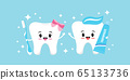 Cute tooth boy and girl emoji with toothpaste, toothbrush and sparkles. 65133736