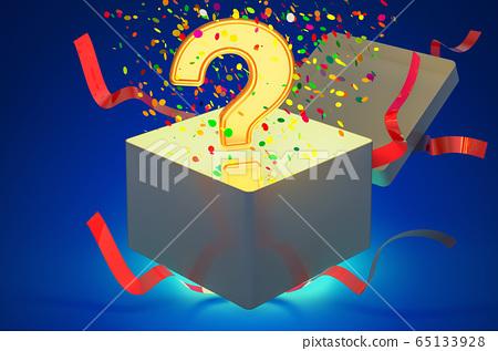 Question mark inside gift box, 3D rendering 65133928