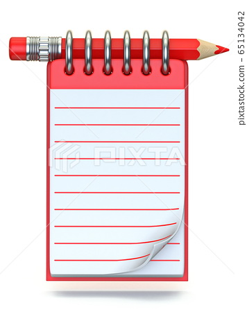 Red pencil and notepad 3D 65134042