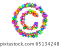 Copyright sign from colored balls, 3D rendering 65134248