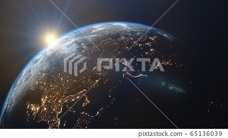 3D rendering of a view of the planet Earth from space 65136039
