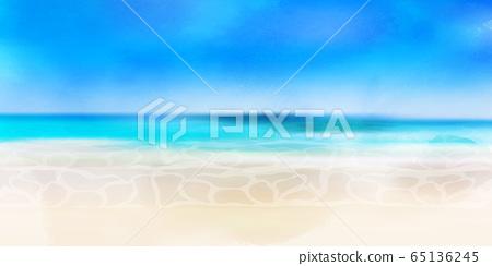 海浪夏天背景 65136245
