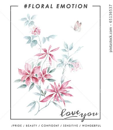 色彩豐富的花卉素材組合和設計元素 65136537