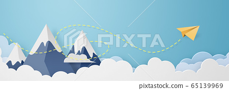 종이 공예 - 하늘 - 구름 - 산 - 종이 비행기 65139969