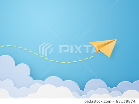 종이 공예 - 하늘 - 구름 - 종이 비행기 65139974