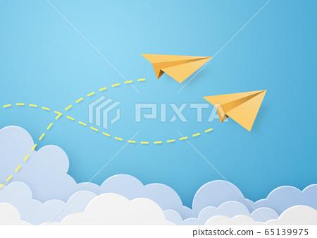 종이 공예 - 하늘 - 구름 - 종이 비행기 65139975