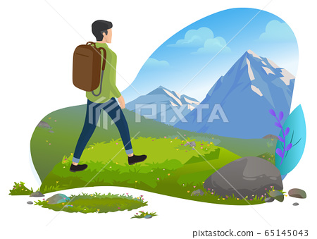 Guy in Mountains, Hiker or Backpacker, Traveler 65145043