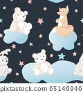 Animal kid characters baby textile design vector seamless background 65146946