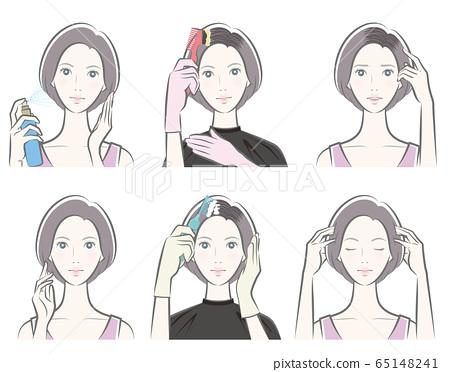 做护发的妇女的例证 65148241