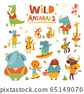 Vector cartoon Wild animals funny characters in flat style 65149076