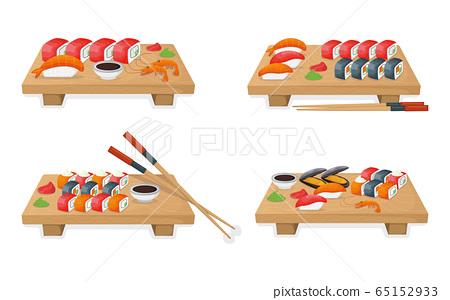 Set of sushi on wooden kitchen board, tuna fish 65152933