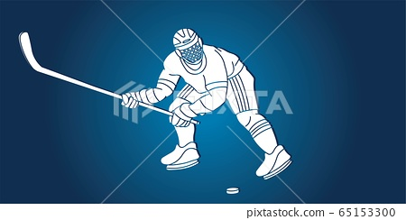 Ice Hockey player action cartoon sport graphic vector. 65153300