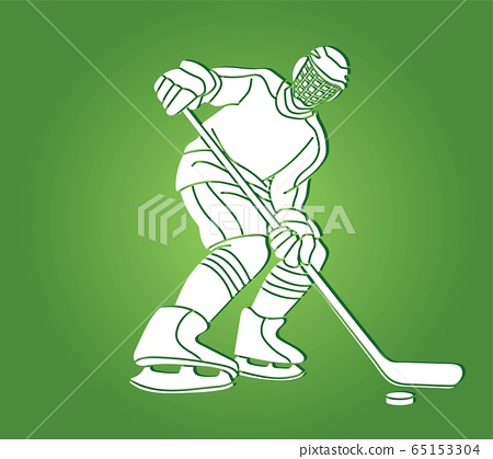 Ice Hockey player action cartoon sport graphic vector. 65153304