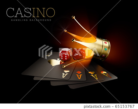 3d Rendering of Play cards with Red dice and gold crown, casino background. Gambling template 65153767